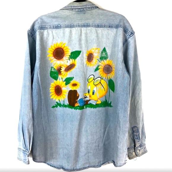 VIntage Tweety Bird Sunflower Painted Denim Shirt